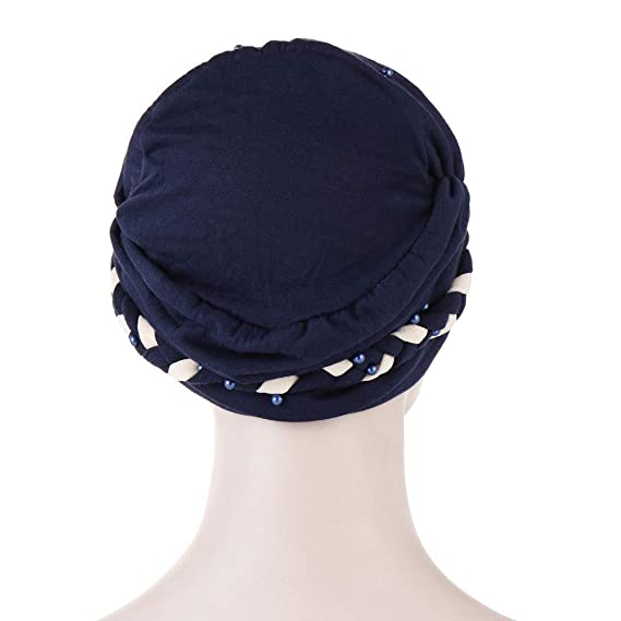 STRIR Mujeres Artificial Perla Turbante Sombrero P/érdida de Cabello C/áncer Cabeza Pa/ñuelos Quimioterapia Cap Sombreros Tapa para Quimio