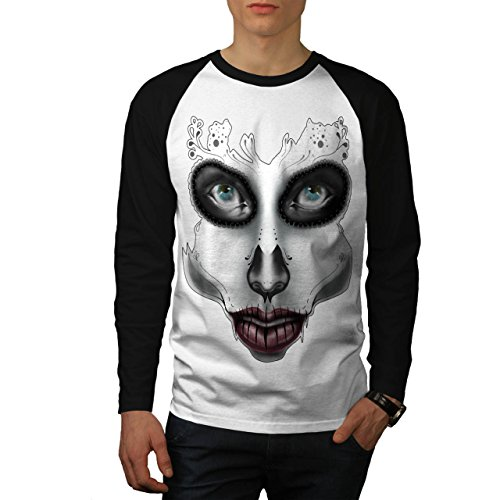 [Sugar Skull Make Up Beauty Face Men NEW S Baseball LS T-shirt | Wellcoda] (Sugar Skull Costume Tumblr)