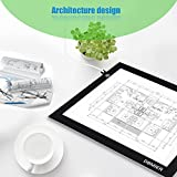 Dbmier 17.8 Inch (Diagonal) USB Mode A4 LED Artcraft Tracing Light Pad Light Box (A4S) - With 78.74' USB Cord and 10 Pieces of Tracing Paper