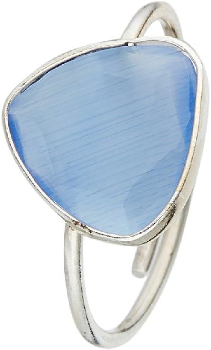 Córdoba Jewels | Sortija en Plata de Ley 925 con Piedra semipreciosa. Diseño Triangle Calcedonia