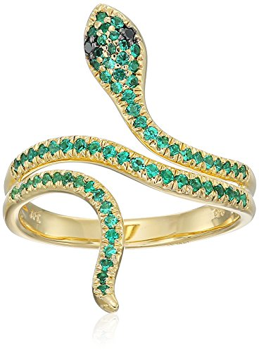 Yellow Gold Plated Sterling Silver Snake Created Emerald Black Diamond Accent Ring, Size 6 by Amazon Collection