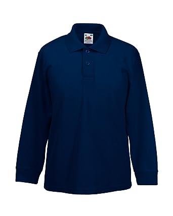 d7ca8dd17 Amazon.com  Fruit of the Loom Kids Pique Long Sleeve Polo Shirt ...