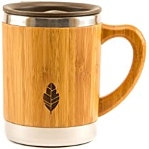 MyHomeIdeas Stainless Steel Bamboo Mug with Lid and Handle - Natural Wood Wooden Light Coffee Tea Mug - 11 oz Non-breakable Design - 100% Eco And Environmentally Safe