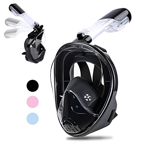 [2018 Newest Version] Greatever 180View Panoramic Snorkel Mask - Breathefree Full Face Snorkeling Mask with Detachable GoPro Mount, Dry Top Set Anti-fog Anti-leak for Adults&Kids(Black, L/XL)