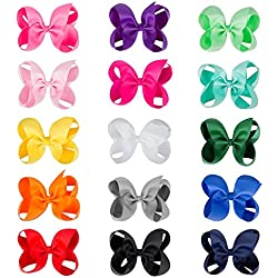 "CN Baby Girls Hair Bow Boutique 6"" Grosgrain Ribbon Hair Bows With Alligator Clips for Teens Baby Toddler Kids Pack of 15"