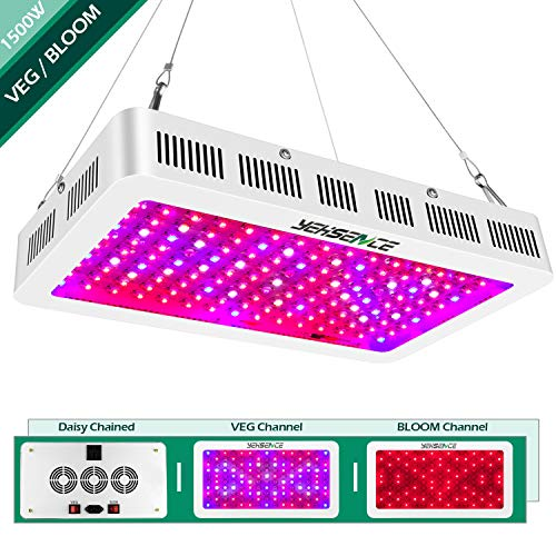 Yehsence 1500w LED Grow Light with Bloom and Veg Switch, (15W LED) Triple-Chips LED Plant Growing Lamp Full Spectrum with Daisy Chained Design for Professional Greenhouse Hydroponic Indoor Plants ()