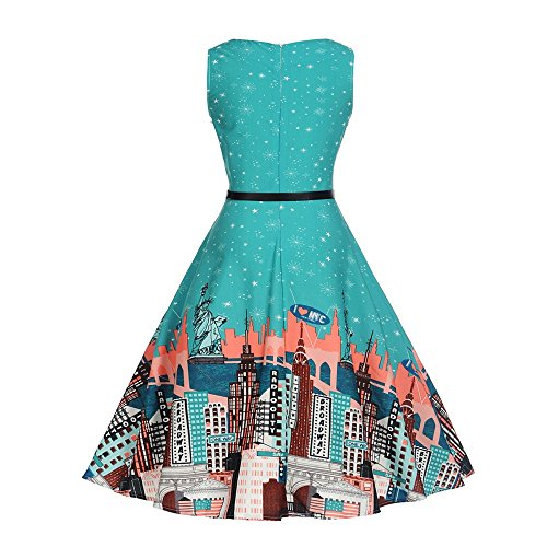 Women Dress Godathe Women Vintage Printing Bodycon Sleeveless Casual Evening Party Prom Swing Dress S-2XL at Amazon Womens Clothing store: