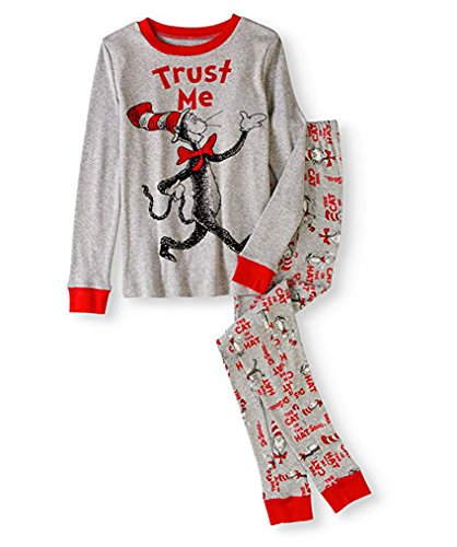 Dr. Seuss Boys Cat in The Hat Trust Me Tight Fit Pajama Set Sleepwear (Grey, Small), Gray, Size Small]()