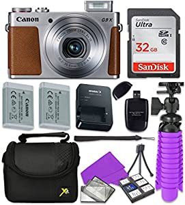 Canon PowerShot G9 X Wi-Fi Digital Camera (Silver) with Sandisk 32 GB SD Memory Card + Extra Battery + Tripod + Case + Card Reader + Cleaning Kit