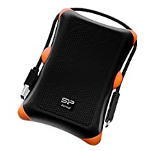 """Silicon Power 2TB PS4 Xbox Compatible Type C USB 3.0 Rugged Armor Military-Grade Shockproof 2.5"""" Portable External Hard Drive-Black, SP020TBPHDA30S3KAZ"""