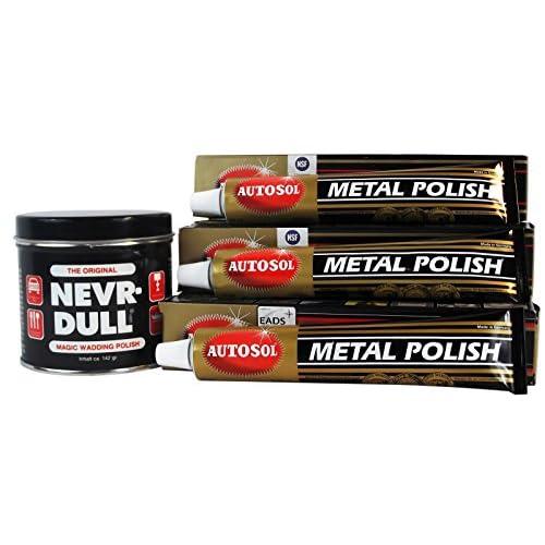 1x nevr Dull ouate de polissage + 3x 75ml Autosol Metal Polish acier chromé brillant (Lot nr2)