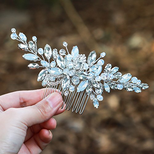 Yean Wedding Hair Comb Silver Rhinestones Blue Opal Crystal Vintage Bridal Hair Clips Combs for Brides and Bridesmaids (White)