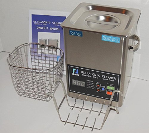 Ultrasonic Cleaner (3L) with Dual Frequency Control, 20khz 40khz, Stainless and Jewelry Steel Basket 3 Liter Tank, 200W Heater for Medical, Dental, Car and Firearm Parts by Digital Pro Technologies
