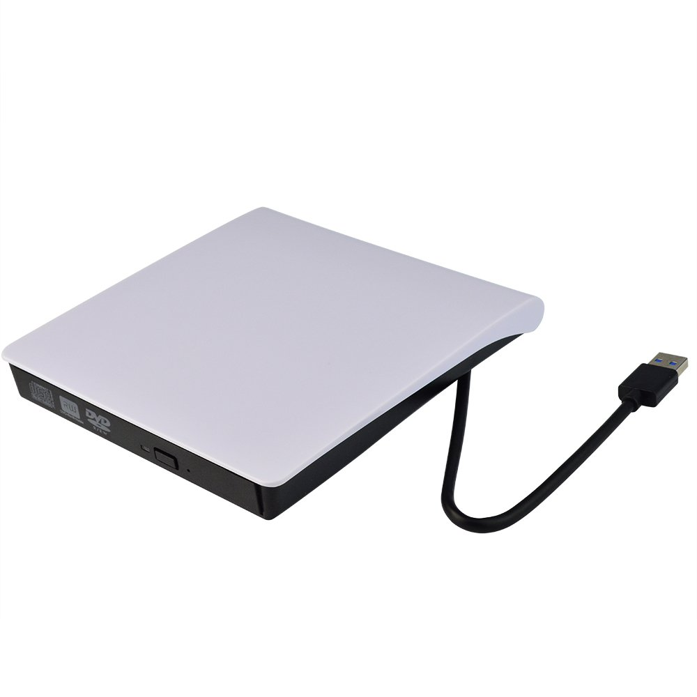 SUMERSHA External DVD Drive USB 3.0 High Speed CD DVD DVD-RW Drive, Compact DVD CD Burner Writer Rewriter for Laptop Tablet Macbook Notebook Desktop PC Windows 7/8/10 Slim White by SUMERSHA (Image #1)