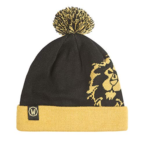 JINX World of Warcraft Alliance Knit Pom Knit Beanie, Black/Gold, One Size