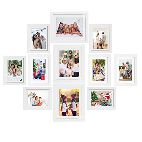Voilamart Picture Frames Set of 11, Multi Pack Photo Frame Set Wall Gallery Kit - Display Three 8x10 in, Three 6x8 in, Five 5x7 in, with Wall Template and Hanging Hardware, White ()