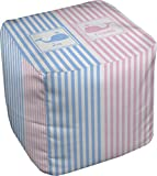 RNK Shops Striped w/Whales Cube Pouf Ottoman - 13'' (Personalized)