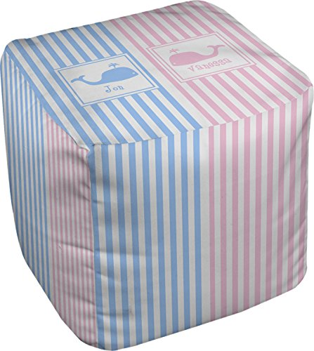 RNK Shops Striped w/Whales Cube Pouf Ottoman - 13'' (Personalized) by RNK Shops