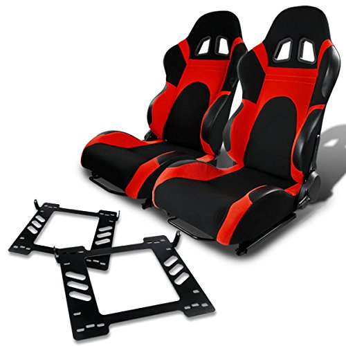 Pair of RST6BKRD Racing Seats+Mounting Bracket for Jeep Wrangler (Jeep Racing Seats)