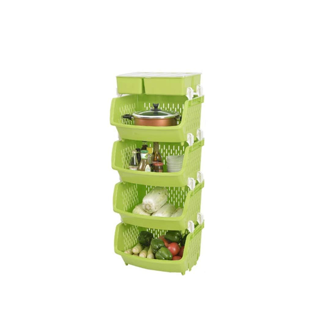 収納 ラック キッチン棚の床果物と野菜のラックキッチン用品皿グリーン B07T5RWPNM
