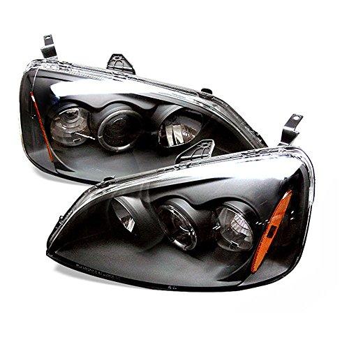 [For 2001-2003 Honda Civic] LED Halo Ring Black Projector Headlight Headlamp Assembly, Driver & Passenger Side