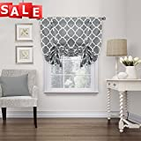 Thermal Insulated Blackout Grey Curtain - Tie Up Shade for Small Window