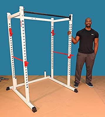 """Mega 1000 lb rated 72"""" WHITE Power Squat Rack, 1.25"""" dia professionally knurled front Chinning Bar, 2"""" Hole centers with bold letters,1000 lb. rated J Hooks with Safety Bars made with 1"""" solid steel r"""