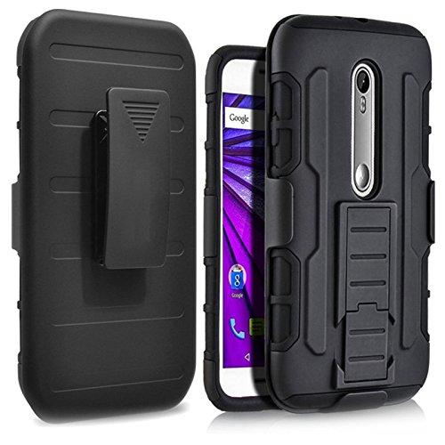 Capa para Moto G3, SKUDO Belt Clip [Suporte Cinto][Anti Choque][3 camadas] , Motorola Moto G3 - Preta