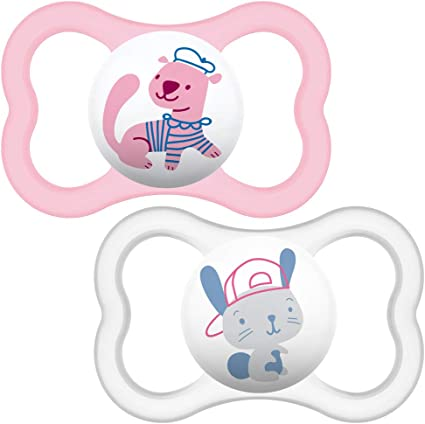 Baby Soother Dummy With Sterilisable Travel Case Glow in the Dark 2pcs MAM