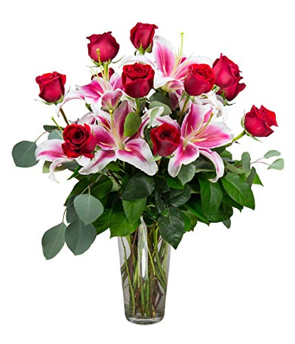 Dozen Premium Red Roses Bouquet - One Dozen Premium Red Roses With Stargazer Lilies- Hand Delivered in a Vase by Radebaugh Florist- Serving Baltimore Since 1924