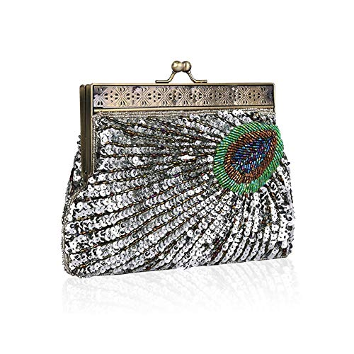 Retro Silver Handmade Sequined Clutch Wedding Party Handbag Dinner Beaded Bag Evening Envelop Women's Banquet dUqOIOn