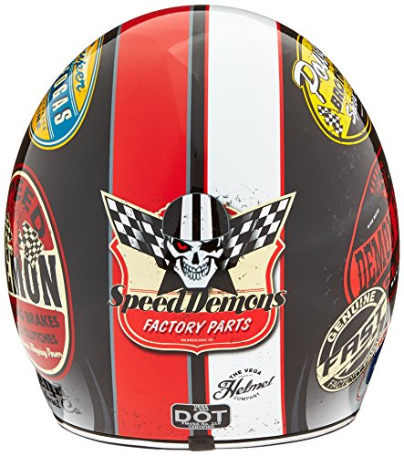 Vega X-380 Open Face Helmet with Old Skool Color Graphic (Red, Large)