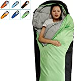 Camping Sleeping Bag-Envelope Mummy Outdoor Lightweight Portable Waterproof Perfect for 0 degree Traveling,Hiking Activities(Green & Black / Right Zip, Mummy) Review
