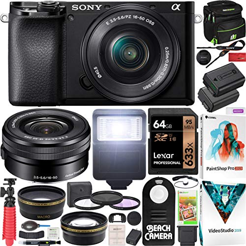 Sony a6100 Mirrorless Camera 4K APS-C ILCE-6100LB with 16-50mm F3.5-5.6 OSS Lens Kit and Deco Gear Case + Extra Battery…
