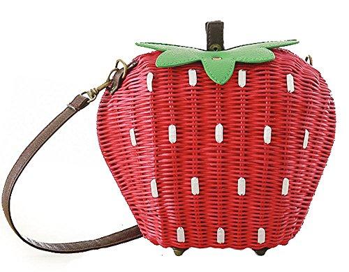 Women's Strawberry Fruit Weave Shoulder Bag Messenger Bag Beach Bag Purse