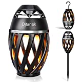 Djtanak Waterproof Flickering Tiki Torch Lights Outdoor Bluetooth Speaker with Pole, Hook, Romantic Dancing Flames, Stereo Sound, Exclusive BassUp, TWS Supported for Indoor Garden Patio