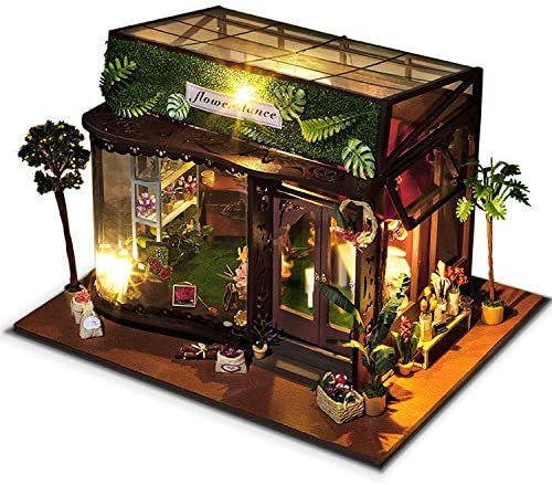 Amazon Com Syltl Diy Dollhouse Kit Romantic Flower Room Led Lights With Dust Cover Cabin Handmade Birthday Gift Home Decor Wooden Dolls House Home Kitchen