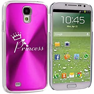 Samsung Galaxy S4 S IV Aluminum Plated Hard Back Case Cover Princess with Crown (Hot Pink)