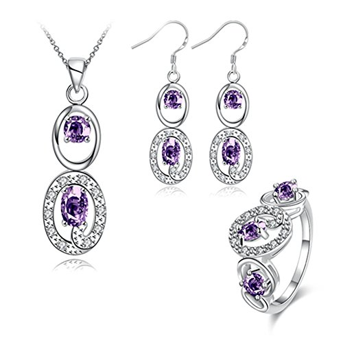 Les Miserables Costumes Ideas (Double Oval Jewelry Set Purple Cubic Zircon Necklace Earrings Rings Silver Plated Fashionable for Womens)