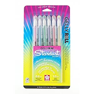 """""""Gelly Roll Stardust Bold Point Pens 6/Pkg-Galaxy-Rose,Sky,Lime, Purple,Golden,Red"""""""