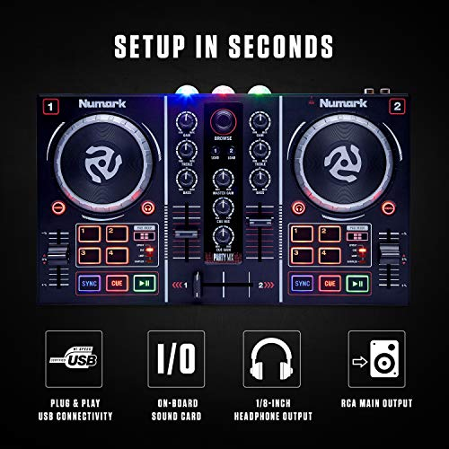 Numark Party Mix | Complete DJ Controller Set for Serato DJ with 2 Decks, Party Lights, Headphone Output, Performance…