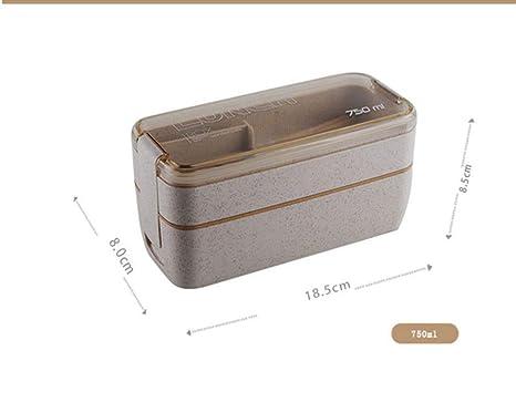 HAHAJY 750 ml Material Saludable Caja de Almuerzo de 2 Capas Cajas ...