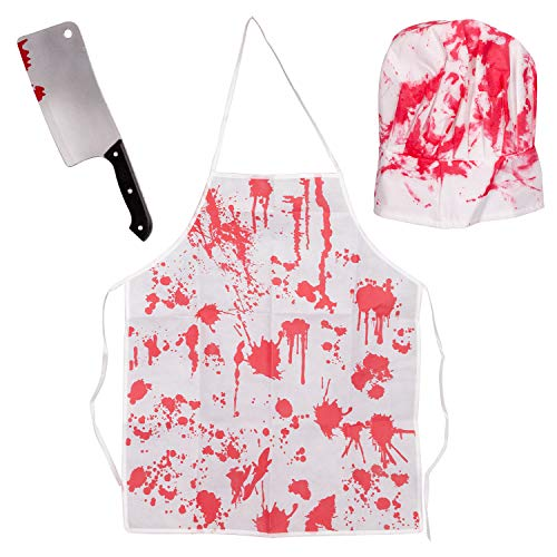 Halloween Bloody Butcher Costumes Scary Set - Cooking Chef Apron Hat Weapon Knife Accessories -