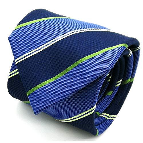 Qobod striped necktie for men tie silk striped tie navy sage green light blue neck ties gift box (Striped Necktie Navy Silk)