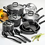 15-Pc Heavy Gauge Aluminum Vessels Teflon Interior Nonstick Grey Cookware Set