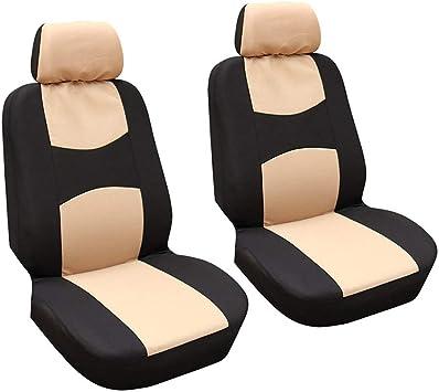 GODGETS Copri-sedili Auto Universale Set Completo//Set Copri-Sedile Universali per Anteriori e Posteriori//Accessori Auto Interno,Arancia Nera,2 Seater Anteriore