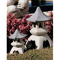 Design Toscano Asian Decor Pagoda Lantern Outdoor Statue, Large 17 Inch, Polyresin, Two Tone Stone