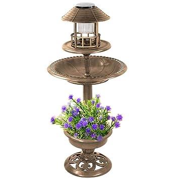 Popamazing Mangeoire à oiseau de jardin sur pied avec vasque et lampe  solaire