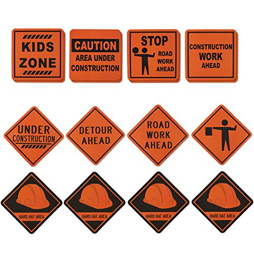 Blue Panda 16-Pack Construction Signs - Construction Birthday Party Supplies, Construction Zone Kids Party Decorations, Assorted Designs, 12 x 12 inches.