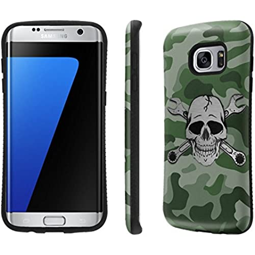Galaxy S7 Edge / GS7 Edge Case, [NakedShield] [Black Bumper] Heavy Duty Shock Proof Armor Art Phone Case - [Camouflage Wrench Skull] for Samsung Galaxy S7 Sales